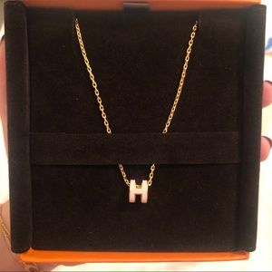 Hermes Mini POP H Necklace Gold with Rose Dragee